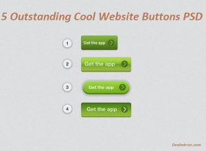 5 Outstanding Cool Website Buttons PSD