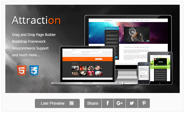 Attraction Responsive WordPress Landing Page Theme