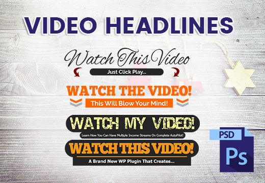 Video Headlines Editable PSD