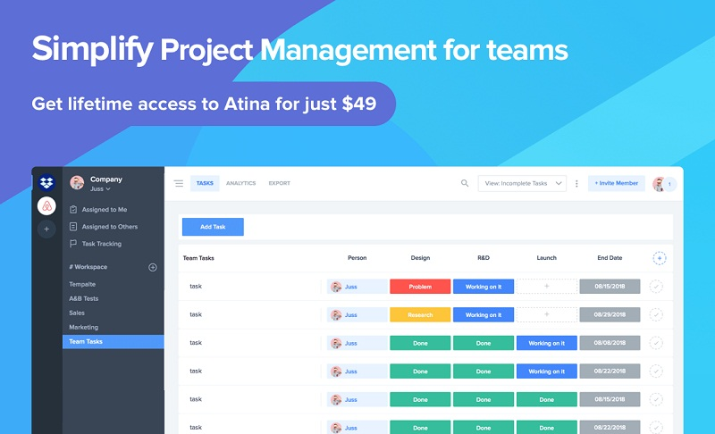 Atina Lifetime Deal – Simple  Project Management  Tool